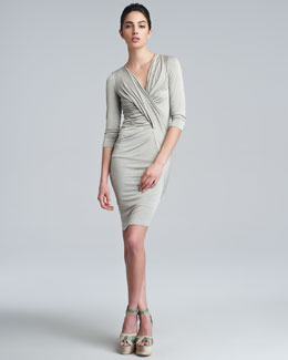 Donna Karan Three-Quarter-Sleeve V-Neck Draped Dress, Hemp