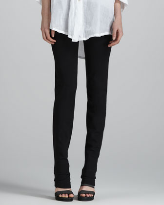 Cold-Shoulder Long-Sleeve Twisted Top & Slim Straight-Leg Pants