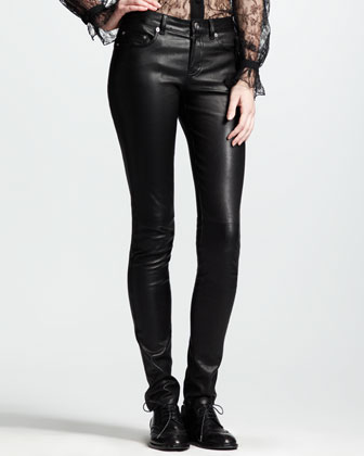 Long-Sleeve Lace Top & Skinny Leather Pants