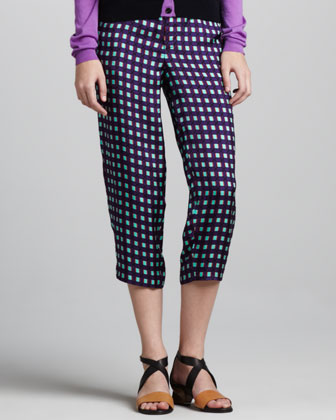 Grid-Print Cropped Pants, Violet
