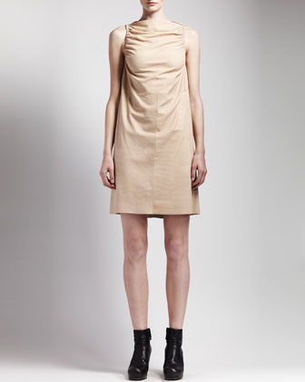Ruched Leather Dress, Flesh
