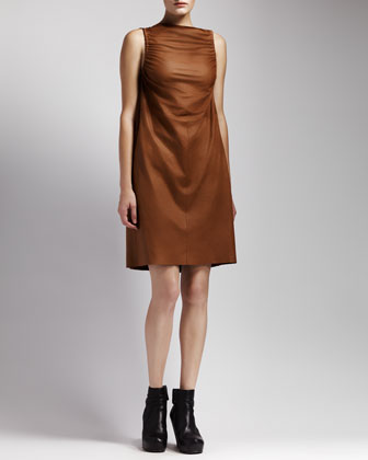 Ruched Leather Dress, Honey