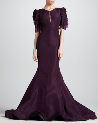 Tiered-Sleeve Keyhole-Neck Mermaid Gown, Aubergine