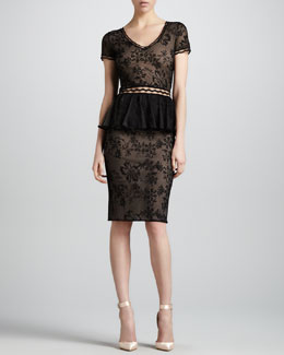Zac Posen Short-Sleeve Lace Peplum Cocktail Dress