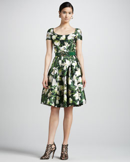 Oscar de la Renta Floral-Print Scoop-Neck Dress, Evergreen