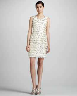 Oscar de la Renta Metallic Tweed Dress, Ivory