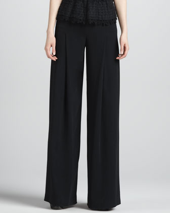 Wide-Leg Side-Zip Pants, Black