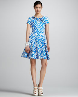 Oscar de la Renta Camellia-Print Dress, Pacific/White