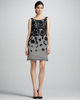 Oscar de la Renta Floral-Embellished Houndstooth Dress