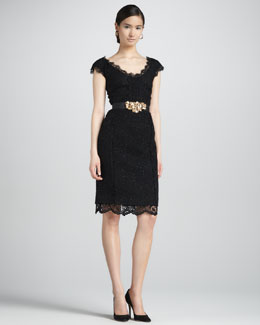Oscar de la Renta Lace-Trimmed Tweed Dress, Black