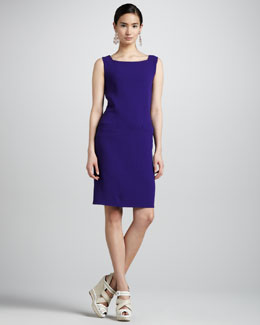 Oscar de la Renta Pocketed Wool Crepe Shift Dress, Violet