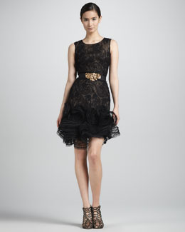 Oscar de la Renta Ruffle-Hem Lace Dress, Black