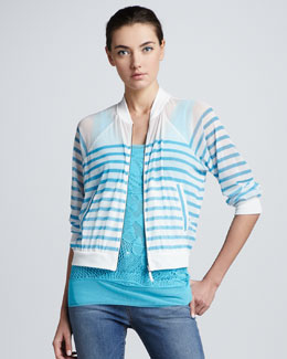 Jean Paul Gaultier Striped Tulle Bomber Cardigan