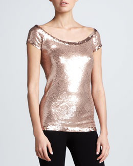 Donna Karan Sequined Cap-Sleeve Top