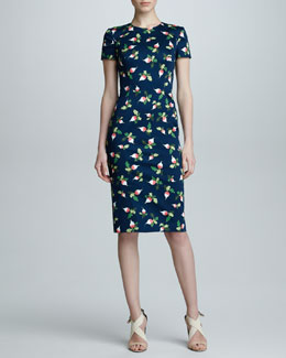 Carolina Herrera Radish-Print Short-Sleeve Sheath Dress, Navy