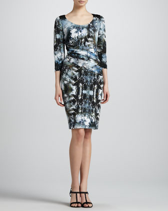 Bias-Seamed Printed Jersey Dress