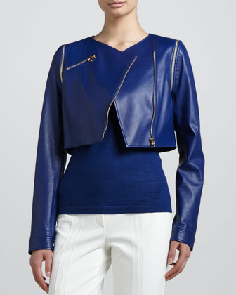 Cropped Lamb Leather Moto Jacket, Blue