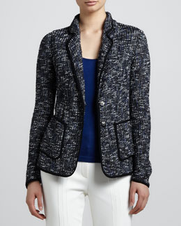 Escada Piped Tweed Blazer, Black