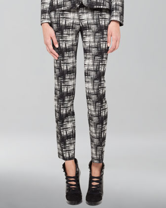 Franca Crosshatch-Print Pants