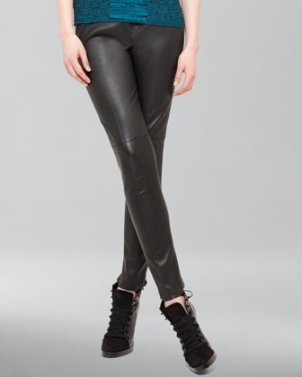 Seamed Leather Ankle Pants