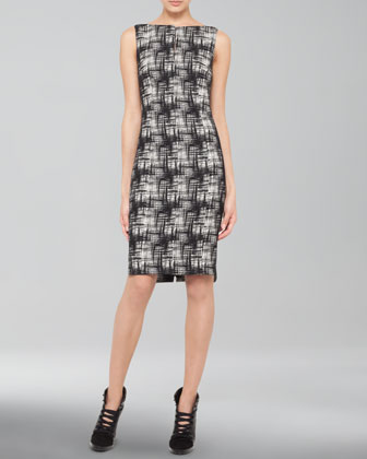 Crosshatch-Print Bateau Dress