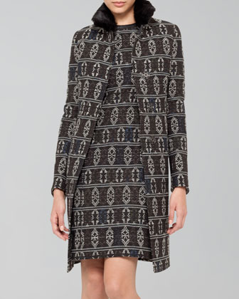 Tribal-Print Jacquard Coat