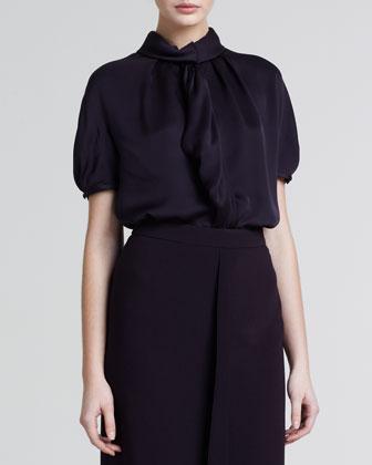 Silky Draped Short-Sleeve Blouse, Merlot