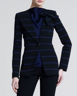 Giorgio Armani Striped Jersey Blazer, Black Ink
