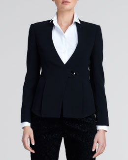 Giorgio Armani One-Button Wool Jacket, Black