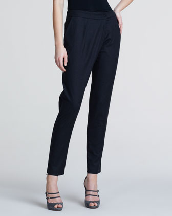 Slim Flannel Crossover Trousers, Charcoal