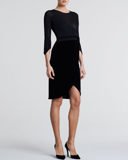 Giorgio Armani Three-Quarter-Sleeve Combo Dress, Black