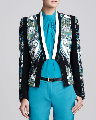 Printed Lapel-Free Jacket