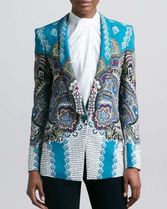 Shawl-Collar Printed Jacket, Teal/Multicolor