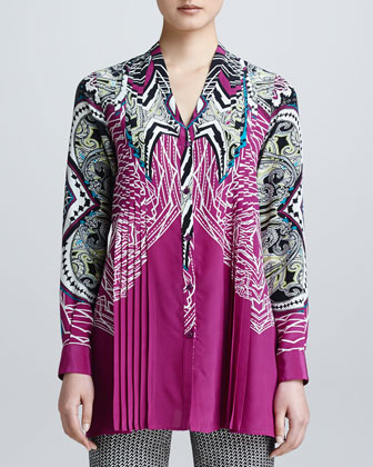 Long-Sleeve Printed Button-Front Blouse