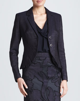 Pleated Cutaway Jacket, Dark Blue