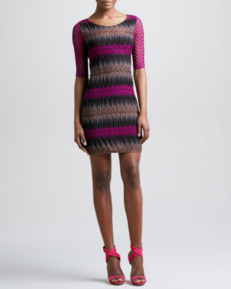 Crochet-Sleeve Dress, Pink/Black