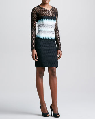 Long Crochet-Sleeve Dress, Black/Aqua