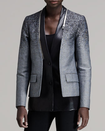 Layered Zip-Trim Blazer