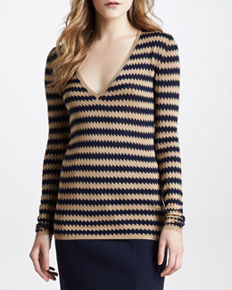Burberry Prorsum Zigzag V-Neck Silk Sweater