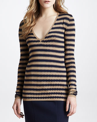Zigzag V-Neck Silk Sweater