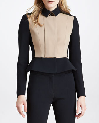 Crepe Colorblock Peplum Jacket