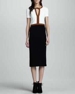 Burberry Prorsum Crepe Colorblock Short-Sleeve Dress