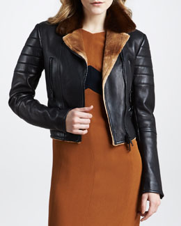 Burberry Prorsum Removable Fur Collar Bomber Jacket