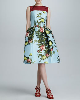 Carolina Herrera Floral Jacquard Full-Skirt Dress, Sky/Multicolor