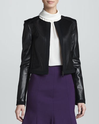 Zip-Front Leather Jacket, Black
