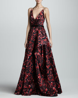 Jason Wu Printed Silk Ball Gown, Ruby/Black