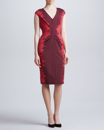 Side-Printed V-Neck Dress, Plum/Berry