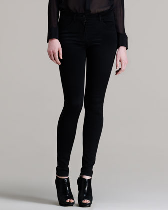 Sheer Patch-Front Shirt & High-Waisted Stretch Skinny Jeans