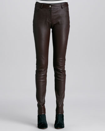 Stretch Leather Skinny Jeans