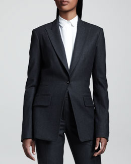 THE ROW Flannel Peak-Lapel Blazer